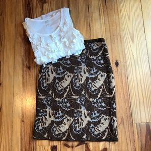 Anthropologie Sparrow Brown Stretch pencil skirt S